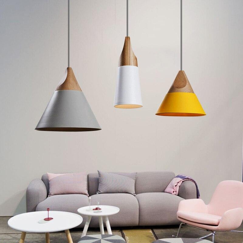 Nórdico moderno colgante luces de madera de aluminio colgante cocina restaurante accesorios de luz luminaria avize colgante lámparas