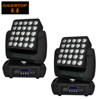 Freeshipping 2 Unit 25x12W Led Moving Head Matrix Light Led Individual Control Stage Washer Effect RGBW 4IN1 Color 19/29/117CH