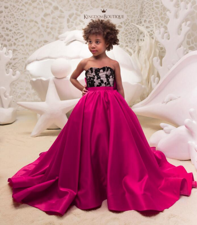 New Girls Red Dresses Kids Prom Party Pageant Dress Black Lace Long Train with Bow Flower Girl Dresses Perform Gown Size 2-16Y teenage girl party dress children 2016 summer flower lace princess dress junior girls celebration prom gown dresses kids clothes