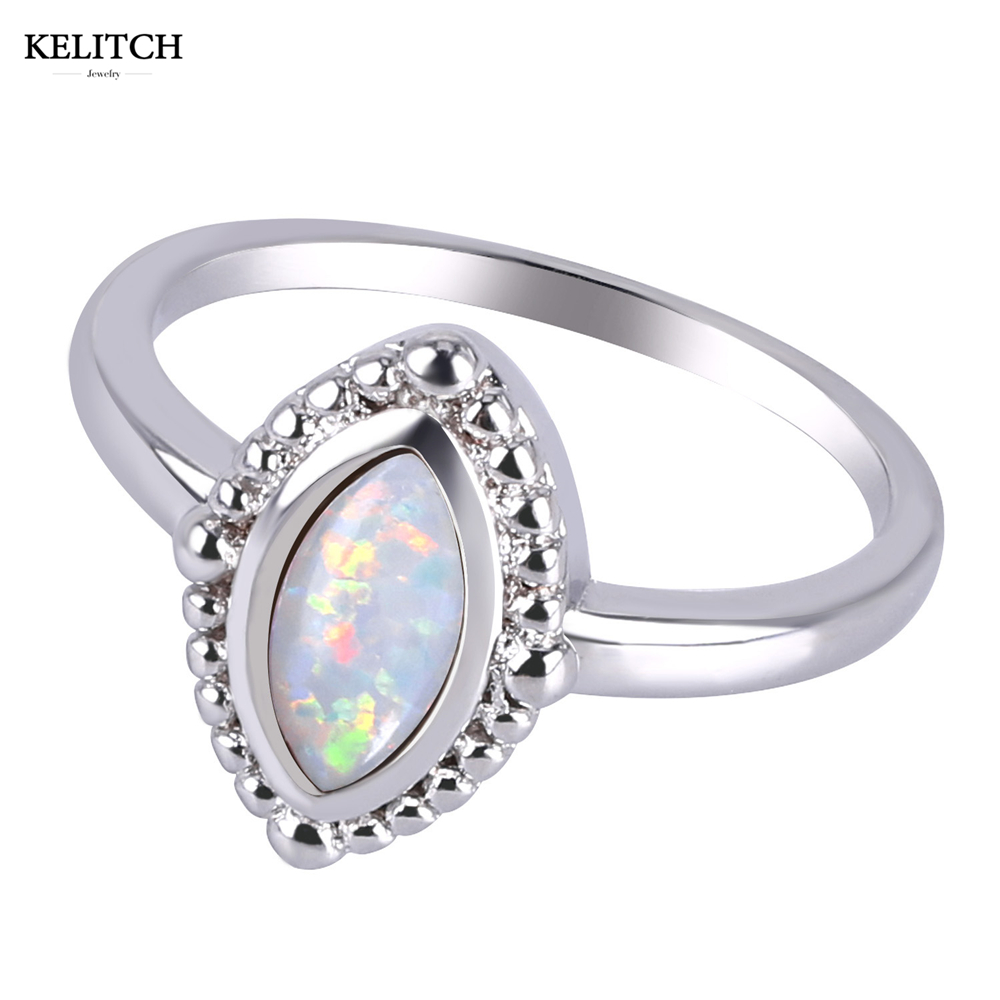 цена на KELITCH Ring Jewelry Opal Evil Eye Ring Sterling-Silver Small Large Size Oval Design Women Ring Opal fire Stone Silver Ladies