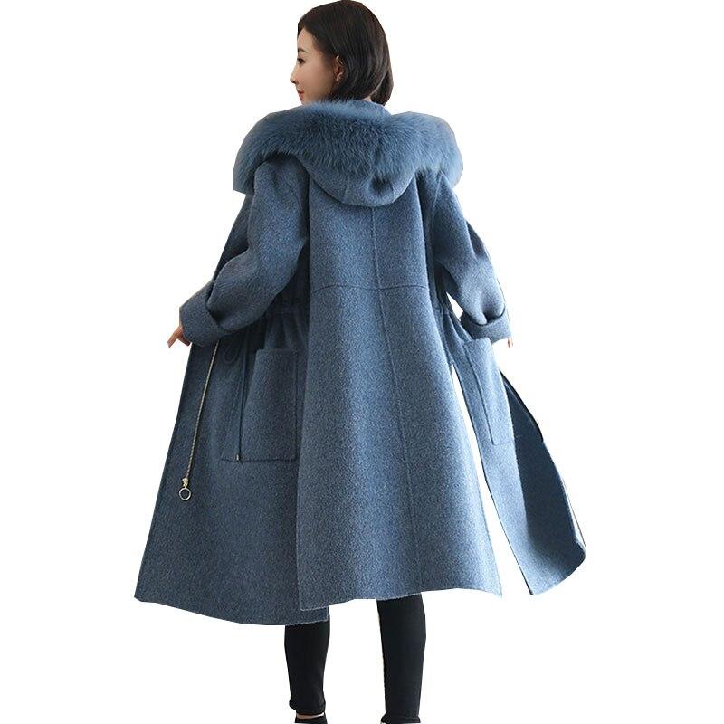 Mode Laine Veste À taille De 2017 Col Capuchon Grand Femme Grand Qualité Manteau Fourrure Femmes Femelle Blue Nouveau Hiver Long Cvaqg0Aw