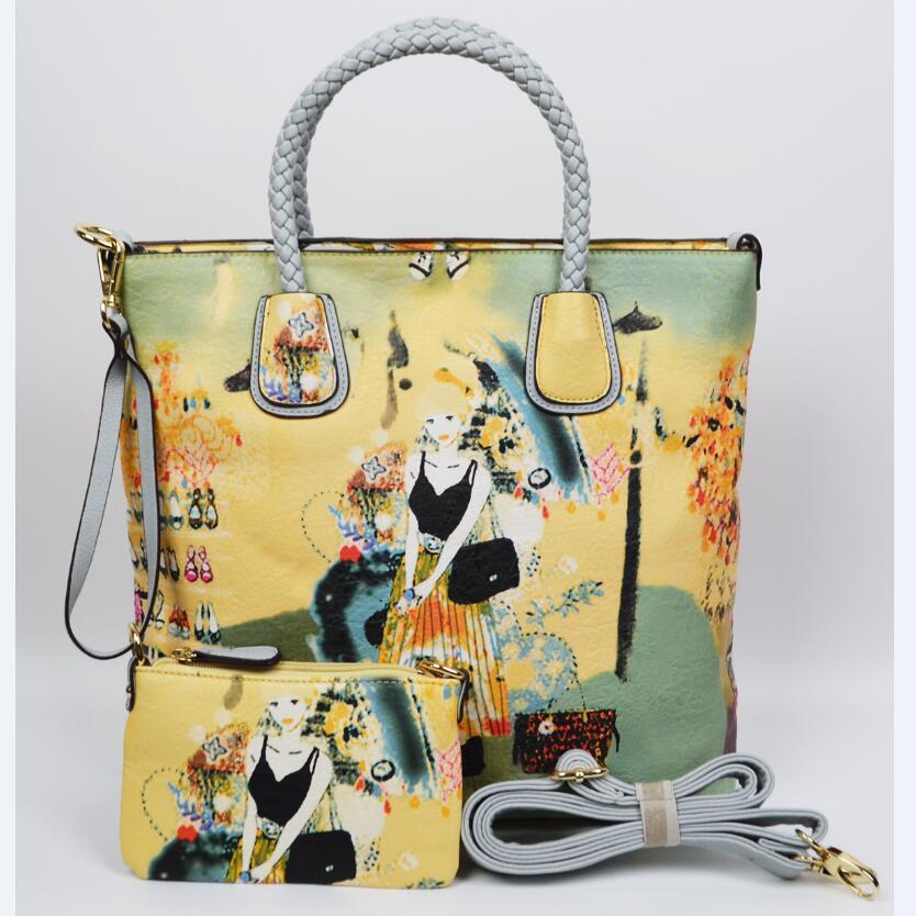 Leather printing single shoulder bag Fashion handbags coloured drawing or pattern Women's messenger bag