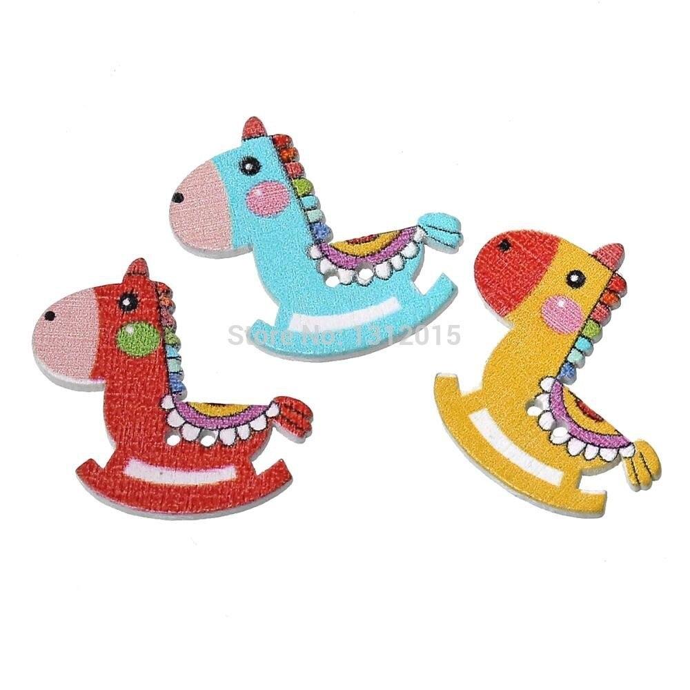 Madera Costura botón scrapbooking dibujos animados caballo mecedora ...