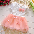 Free Drop shipping 2016 New Summer Fashion four leave grass Lace children Baby girls short-sleeved dress clothing A226