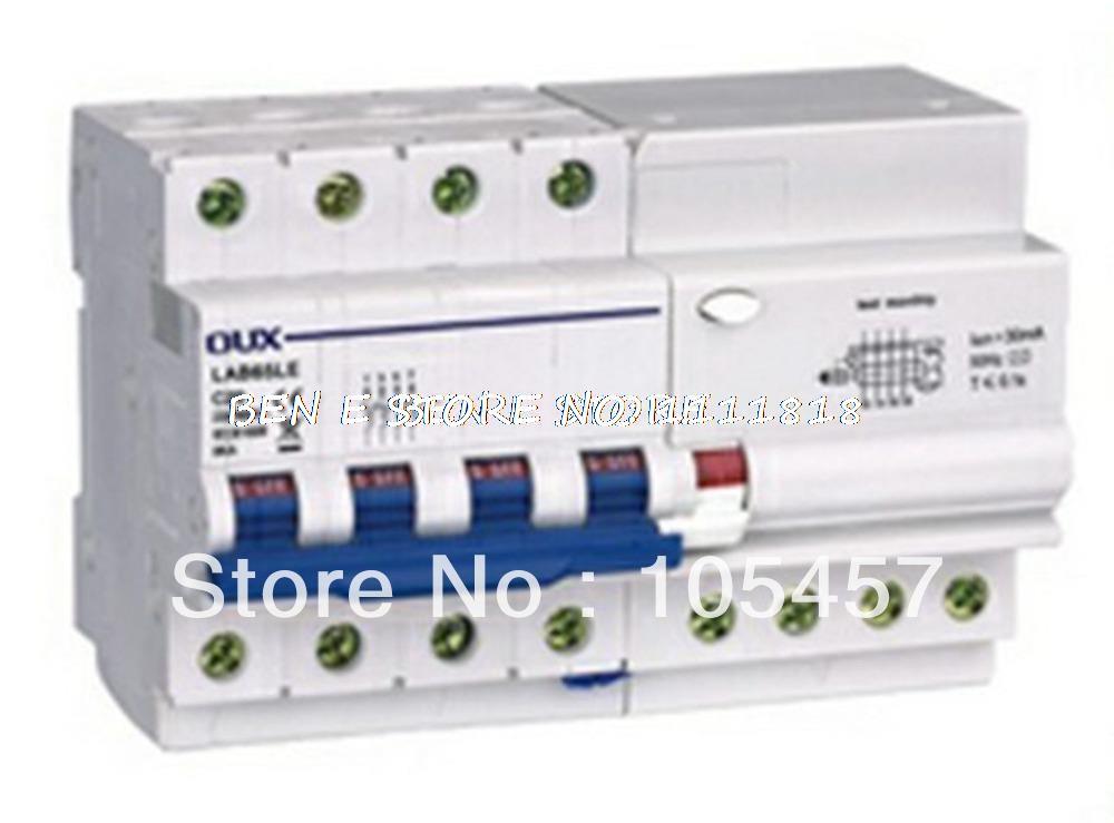 C60 Type ELCB Earth Leakage Circuit Breaker 4P+N AC230/400V 50/60A 30mA 4KA abb leakage circuit breaker abb switch leakage current gsh204 c40