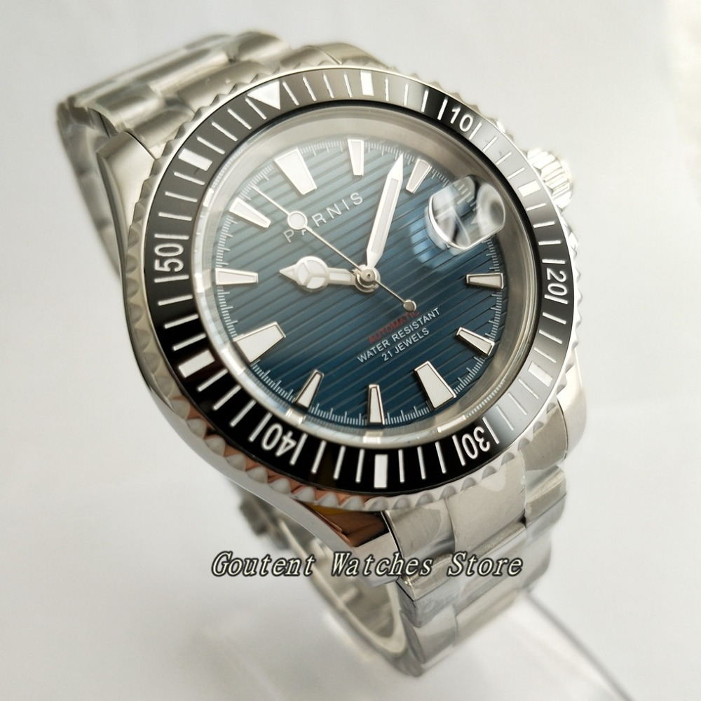 Men's Watches 41mm Parnis Ss Case Sapphire Glass 21jewels Deep Blue Dial Miyota 8215 Automatic Watch Watches
