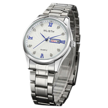 WLISTH 602 Quartz Watches Males Wrist Watches For Males Full Stainless Metal silver white