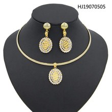 Yulaili Vintage Round Shape Alloy Crydtal Choker Necklace Pendant Earrings African Jewelry Sets Wedding Party Accessories
