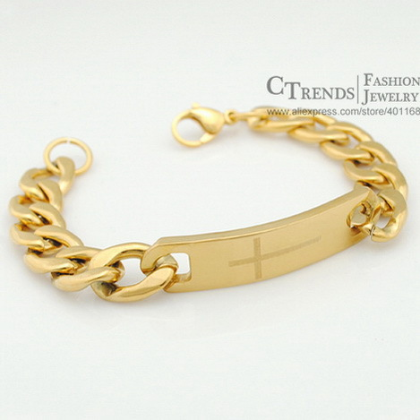 Moorvan Gold Color Nk Chain Id Sideway Cross Bracelets Mens Religious Jewelry Clic Trendy Whole Bracelet Vb180 In From