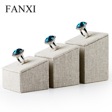Free shipping custom jewelry ring holder display made of linen fabric stand for jewelry counter ring stand creamy white 3pcs/set