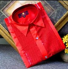 Crazy promotion ! Red sequins shirt men singer dance camisa masculina social star style dress mens shirt new arrival designer