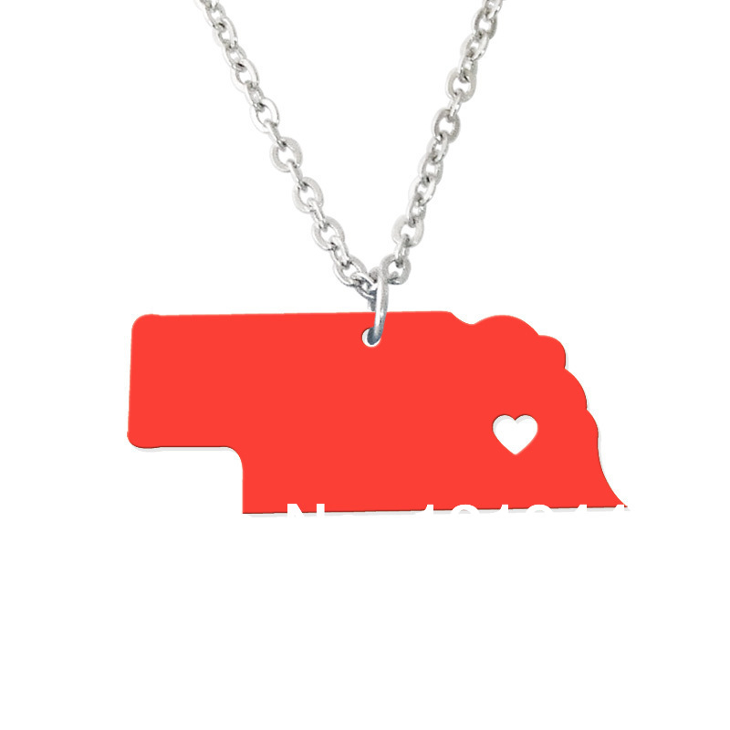 Nebraska Necklace State Pendant - Custom map jewelry-Personalized country charm-Any map you want