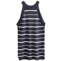 SexeMara Women's Tops Casual Loose O neck Tank tops Striped Knitted thin tops camiseta con sujetador haut de femme