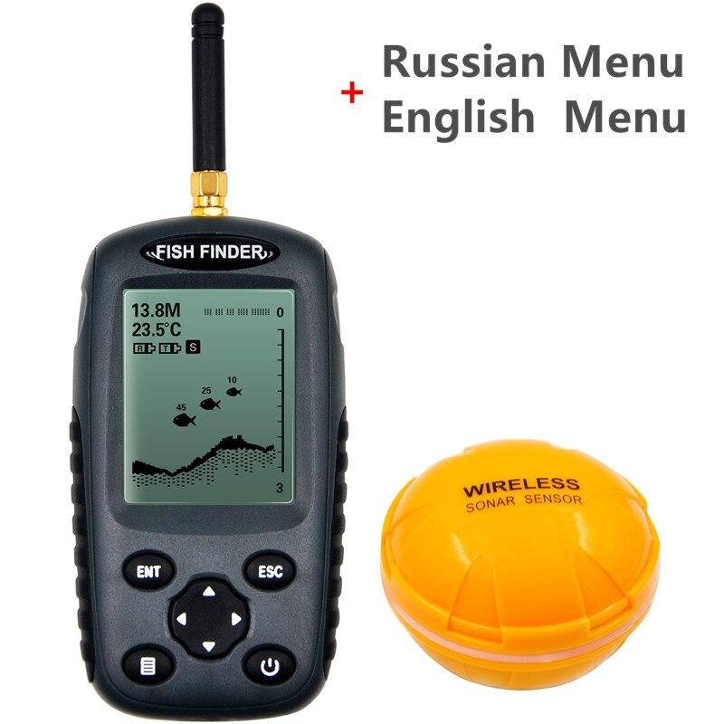 FFW718 рыболокаторы обновления FF998 Русский Меню перезаряжаемые Waterpoof беспроводной Fishfinder сенсор 125 кГц Sonar эхолот