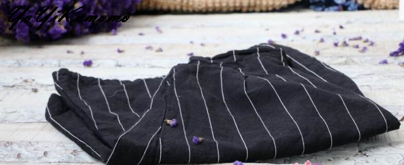 Ample Femmes Pantalons 2018 Brève Yoyikamomo Élastique Taille Printemps Pantalon Vintage Coton Rayé Lin 0nwqC6UR