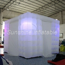 3mLx3mWx2.4mH white cube inflatable photo booth led tent portable enclosure for wedding
