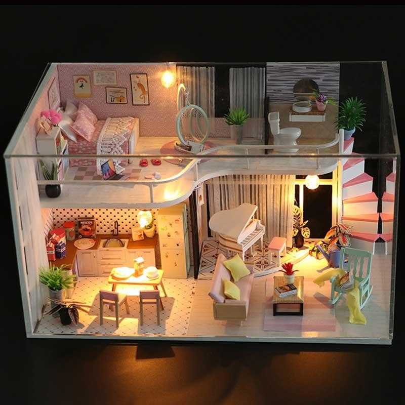 Small 3D Wooden Mini Doll House DIY Dollhouse Lifelike Handmade Miniature Dollhouses Kit Toys for Children Girls Xmas Gifts wooden handmade dollhouse miniature diy kit caravan