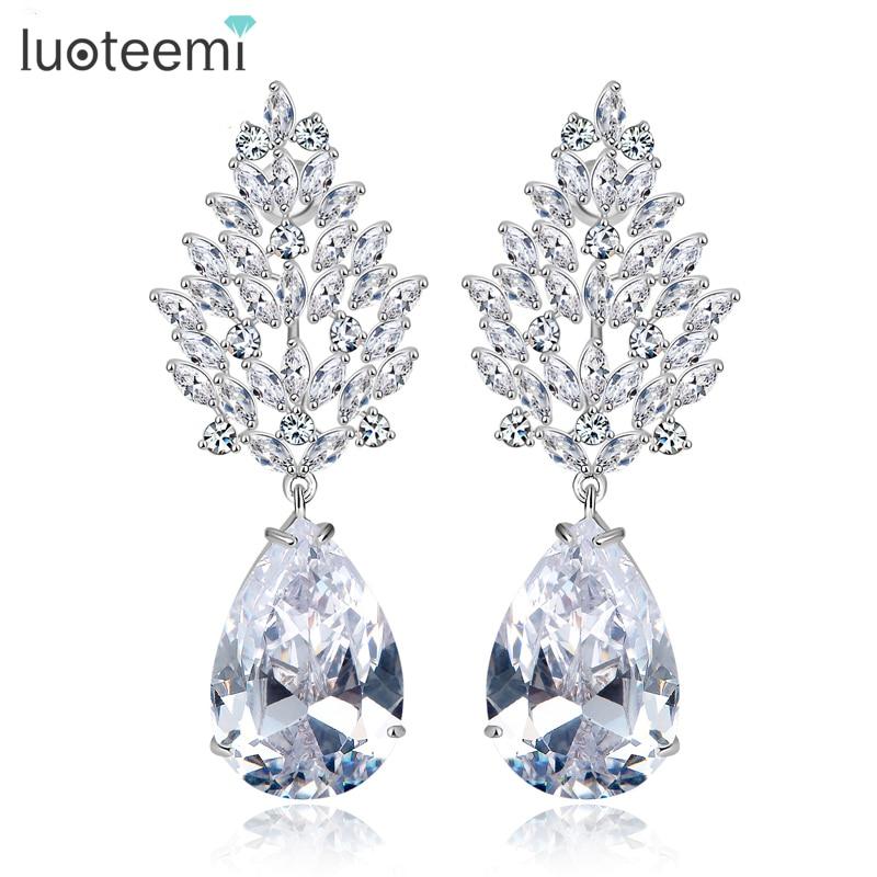 LUOTEEMI Wholesale Luxury Large Earrings Female Wedding Jewelry Bridal Big Heavy CZ Chandelier Earrings for Women контактные линзы johnsonjohnson 1 day acuvue moist 30 шт r 9 d 2 0