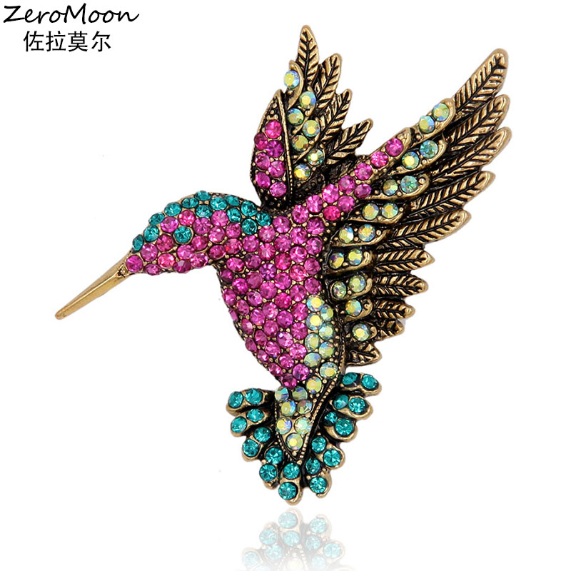 Levande Hummingbird Brosch Pin Crystal Rhinestone Animal Bird Women Garment Scarf Accessory Vintage Smycken