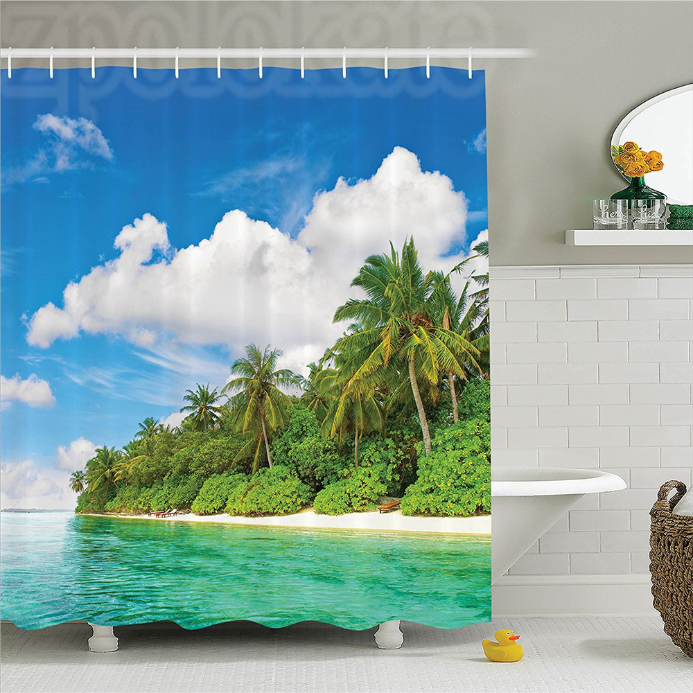 Ocean A Surreal View in Tropical Island Palm Trees Ocean and Bright Sky Exotic Lands Polyester Bathroom Shower Curtain Turquois