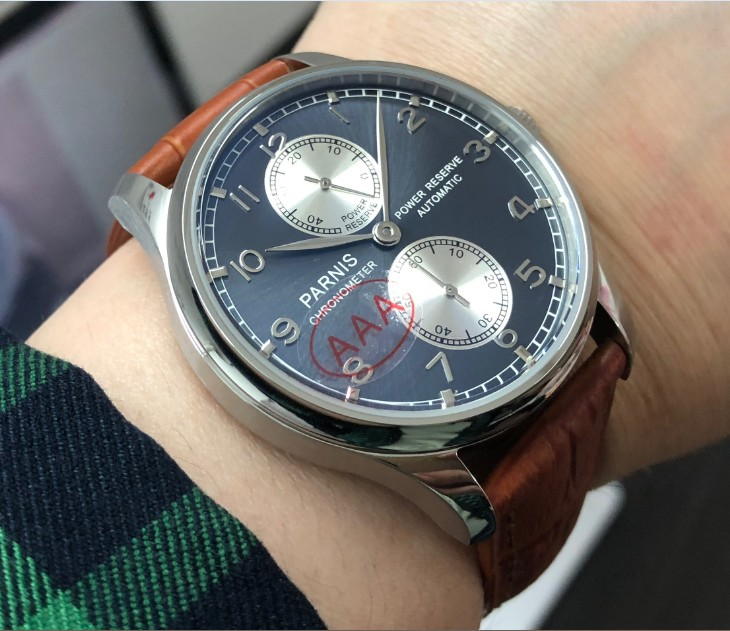 Sapphire crystal 43mm PARNIS power reserve Automatic Self-Wind Mechanical movement grey-blue dial mens watch pa100-p8Sapphire crystal 43mm PARNIS power reserve Automatic Self-Wind Mechanical movement grey-blue dial mens watch pa100-p8