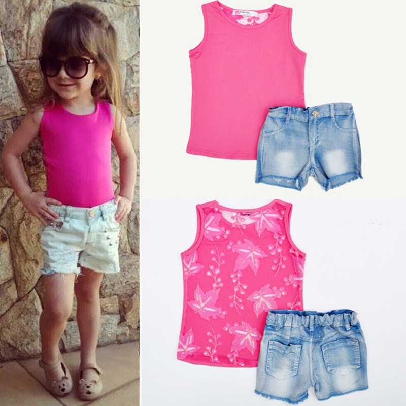 Typical Girl Fashion: 2015 Baby Girl Suit Pierced Lace Vest + Denim Shorts