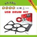 Envío Gratis Portable USB Roll Up kit de tambor con ritmos auriculares música instrumental, aparatos tambor fijado para los niños