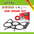 Free Shipping Portable USB Roll Up snare drum kit with beats headphone instrumental music electronic gadgets drum set for kids
