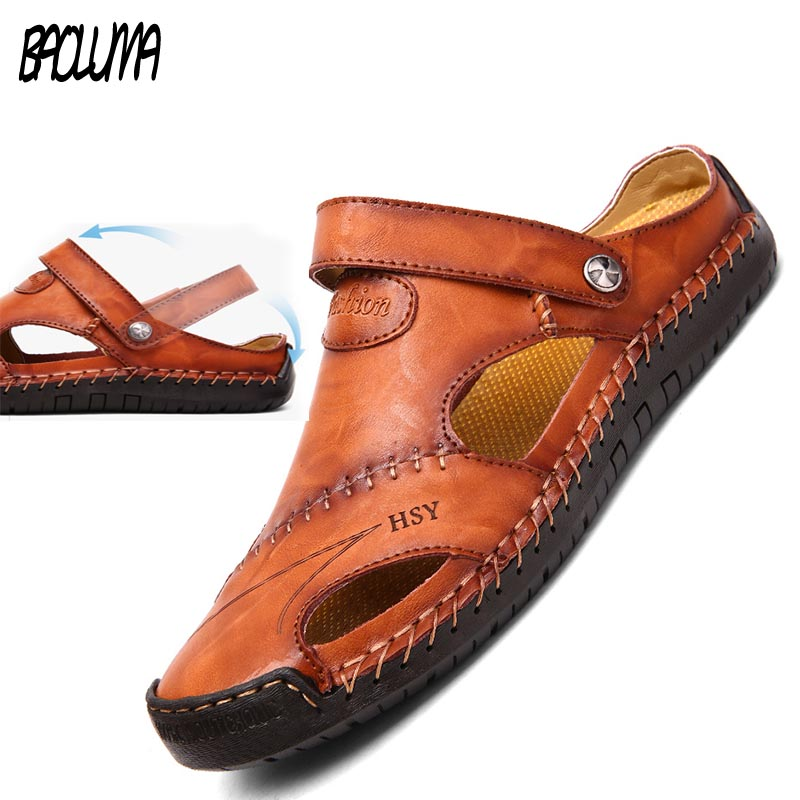 Men Sandals Slippers Shoes Genuine-Leather Beach Summer High-Quality Big-Size New Leisure