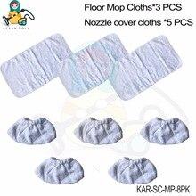 5X borstel kit covers 3X vloer mop doeken rags (NIET VOOR Comfort plus & EasyFix nozzle) voor Karcher SC stoomreiniger SC1 SC2 SC3