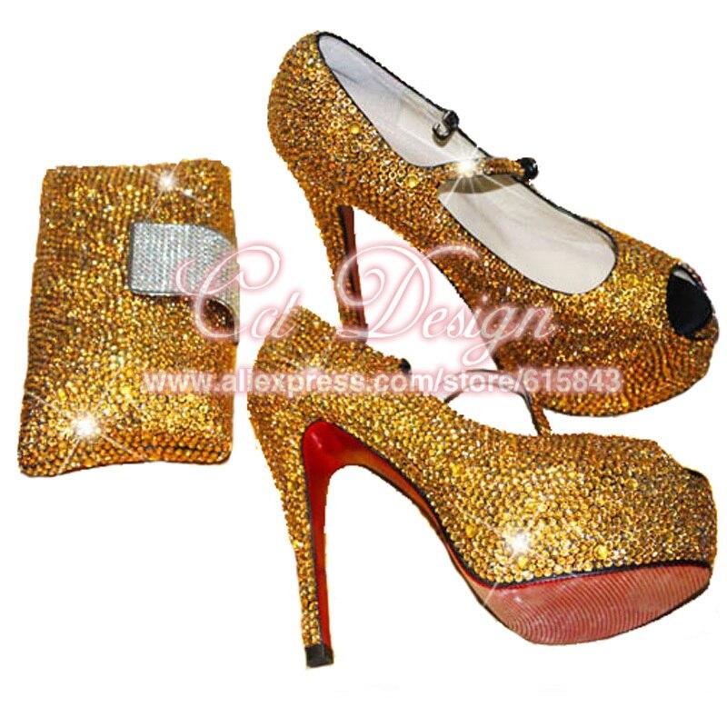 e62c432b387 Sparkly Shoes Woman Rhinestone Gold Wedding Shoes Mary Janes Platform Peep  Toe High Heels Italian Shoes And Bag Set Plus Size
