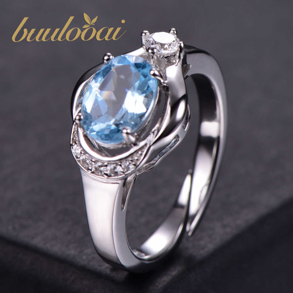 buulooai Solid 925 Sterling Silver Rings For Women Sky Blue Topaz Aquamarine Gemstone Wedding Band Birthstone Gift Jewelry