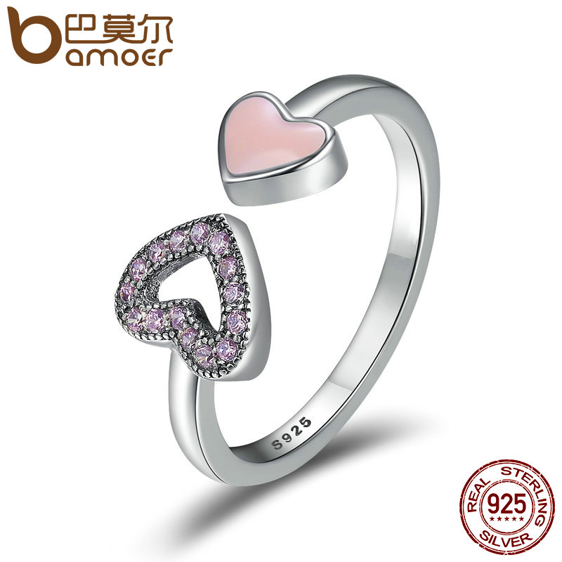 BAMOER Genuine 925 Sterling Silver Heart to Heart Enamel & Clear CZ Finger Ring Wedding Band Engagement Ring Jewelry SCR209 цена 2017
