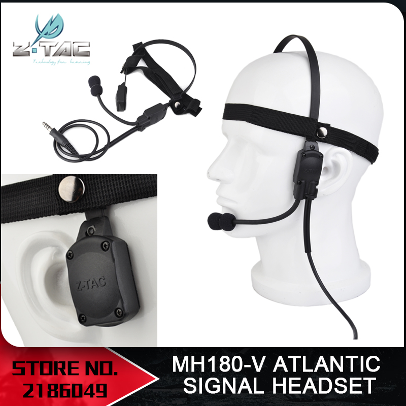 Z-Tac Military Tactical Headset Signal Bone Conduction Speaker Mh180-v Airsoft Earphone Z136