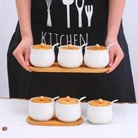 Kitchen Spice Jar Ceramics Seasoning Sets Container Salt Sugar Storage Bottle Kitchen Three of Chili Condiment Pot