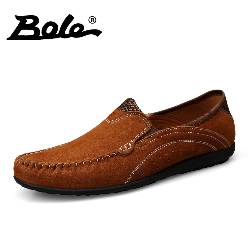 BOLE New Men Handmade Genuine Leather Shoes Fashion Designer Slip on Driving Loafers Breathable Flats Men Shoes Large Size 36-45