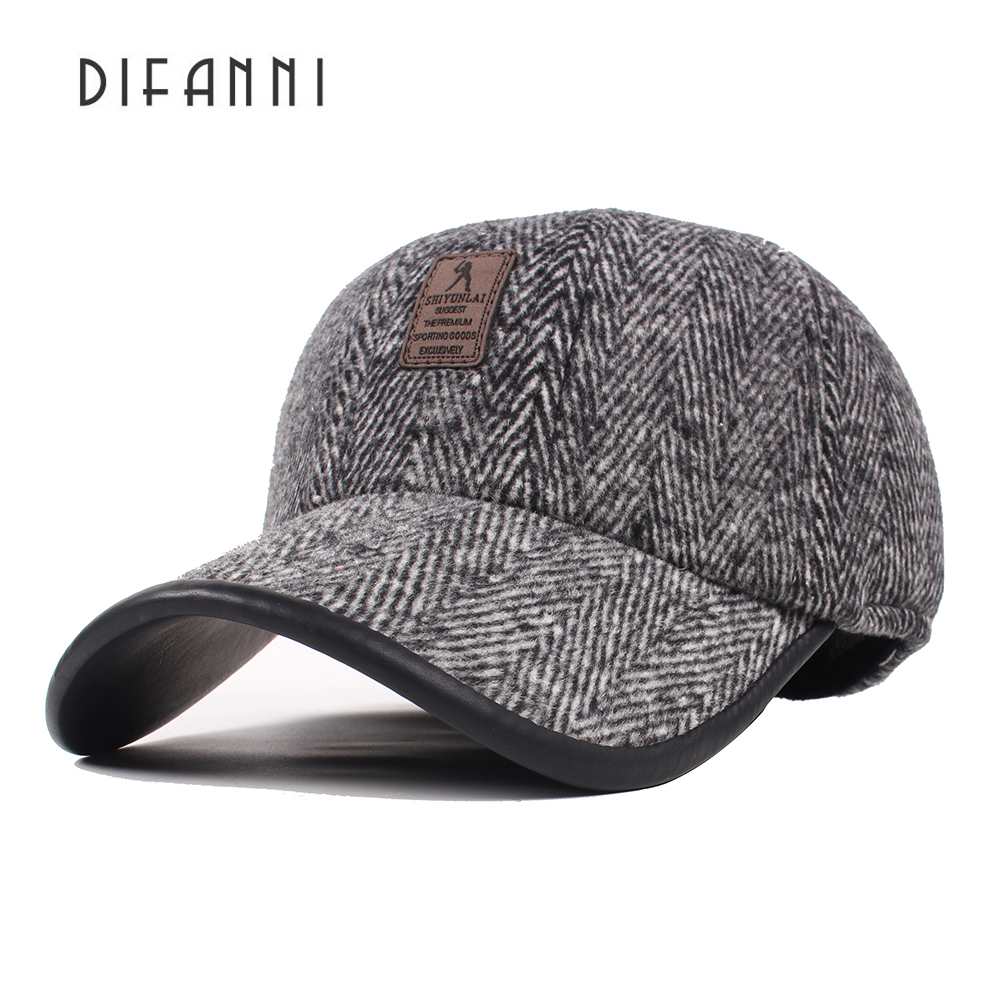 897080a091f441 Best buy Difanni 2017 Winter Dad Hat Baseball Cap Men Good Quality Bone  Snapback Hats for Men Warm Caps with Ear Flaps online cheap