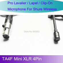 Pro MICWL L4P New Tie Lavalier Lapel Microphone for Shure Wireless belt pack bodypack TA4F Mini XLR 4Pin
