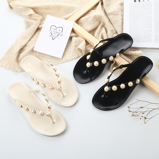 Womens Flats Floral Slippers Pearls Mules Bohemia Open Toe Sandals Shoes Slip On