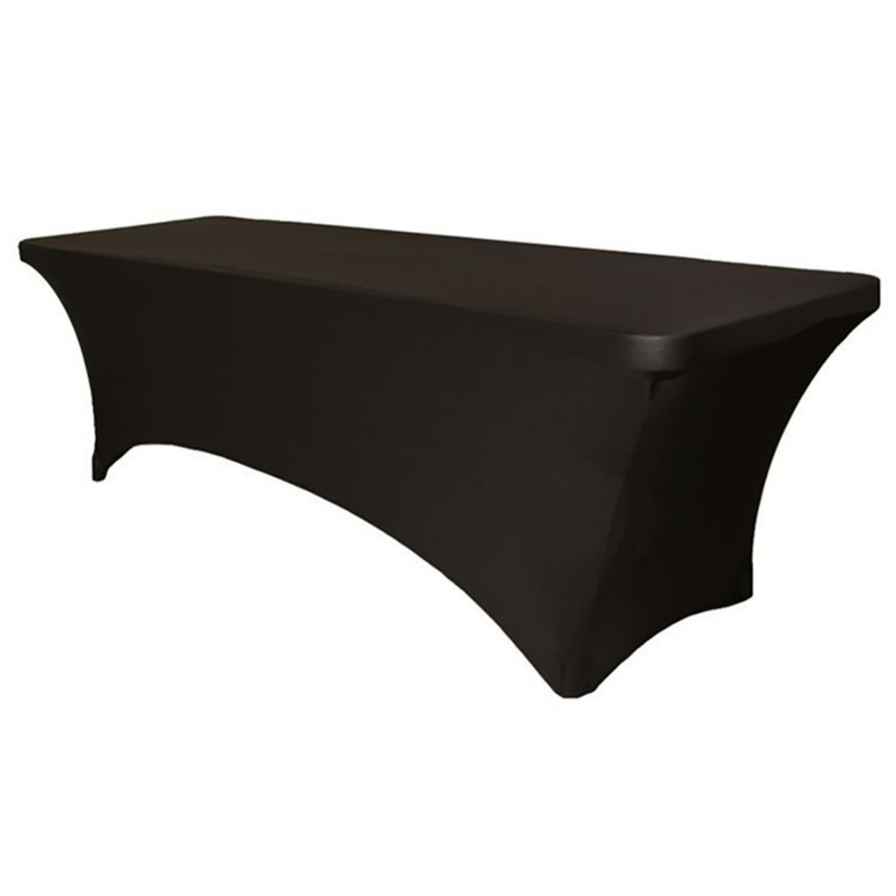 Fashionable Elastic Rectangular Stretch Tablecloth Black Table Cover for Bar Counter Cocktail Table Dinning Table Household Deco