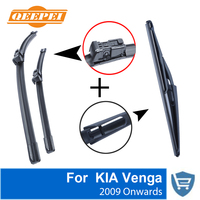 QEEPEI Front and Rear Wiper Blade no Arm For KIA Venga 2009 OnwardsHigh quality Natural Rubber windscreen 26''+14''