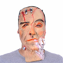 Party Masquerade Mask Halloween Mask Bloody Badly Wounded Full Face With Horror Latex Mask MJ011