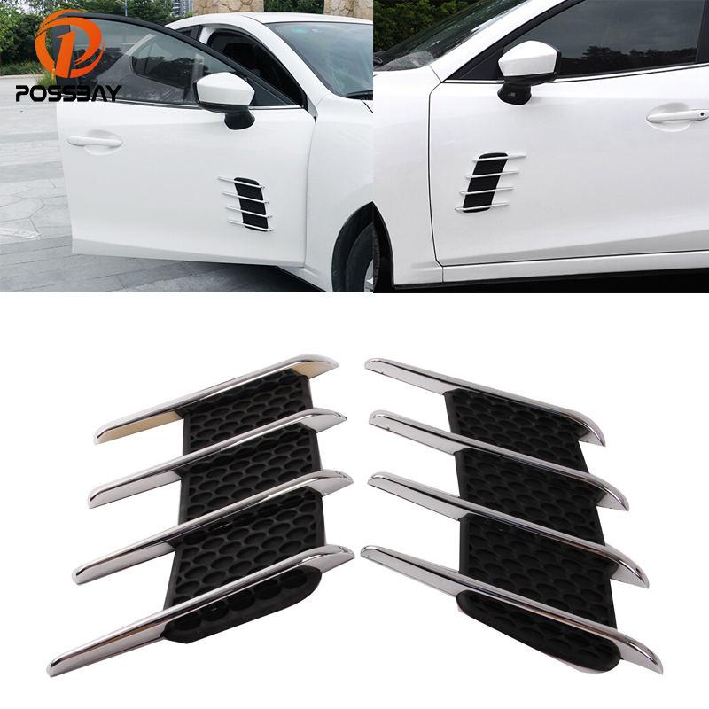 цена на POSSBAY Black Shark Grilles Car Sticker Air Flow Vent Outlet Intake Turbon Bonnet Vent Stickers Universal Air Flow Fender Decor