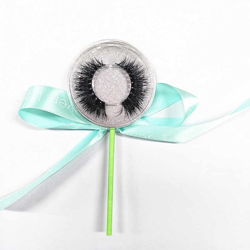 50 пар 3D настоящие норковые накладные ресницы Lollipop упаковка полоса норка для ресниц с логотипом Sitcker Бесплатная доставка