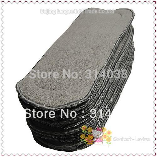 Free Shiping  Bamboo Charcoal Insert 5 Layers  For Baby Diaper