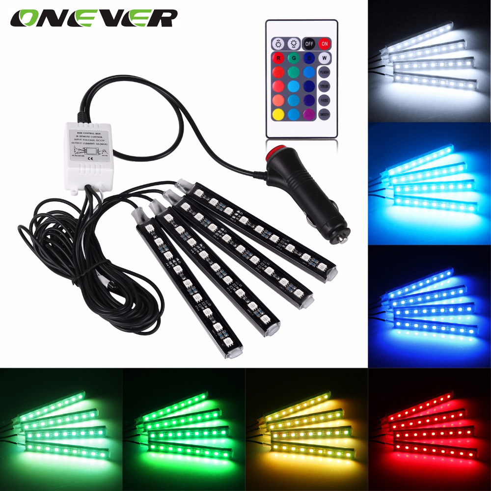 4pcs Car RGB LED Strip Light  LED Strip Lights 16 Colors Car Styling Decorative Atmosphere Lamps Car Interior Light With Remote tak wai lee 1pcs usb led mini wireless car styling interior light kit car styling source decoration atmosphere lighting 5 colors