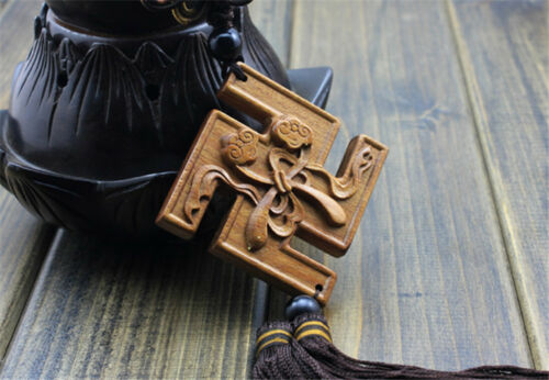 Wood Carving Chinese Wealth Buddhist Symbol Car Pendant Amulet Wooden Craft