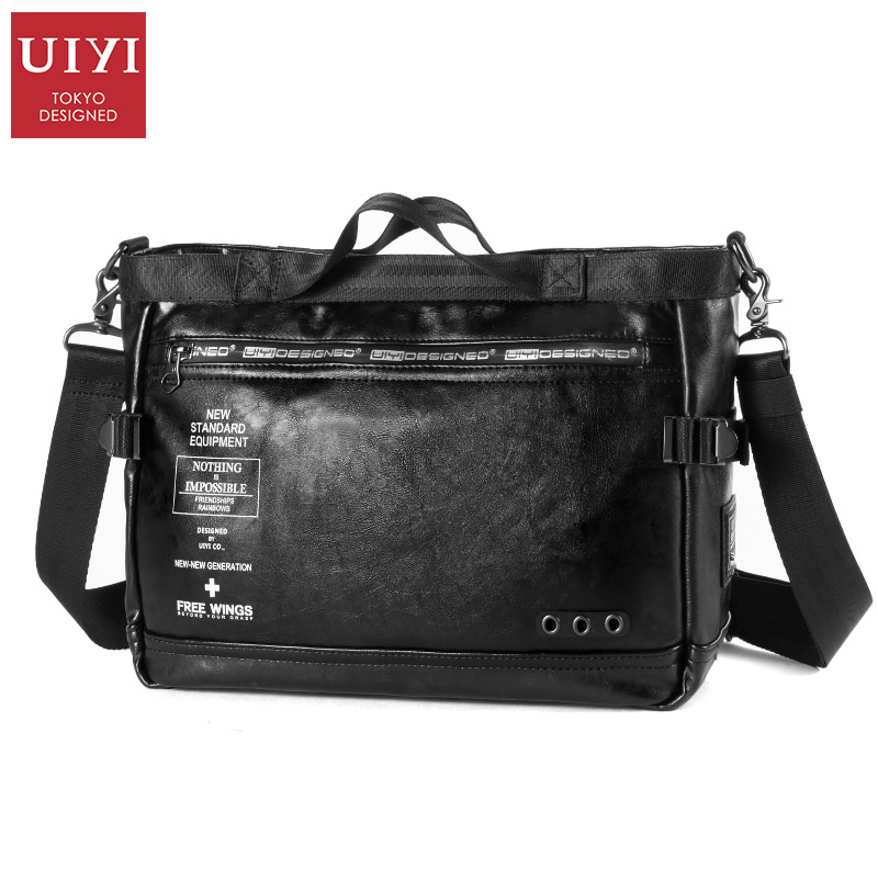 UIYI Brand Men's Leather Messenger Bags Multifunctional Men Black PVC Bag Male Casual Shoulder Cross body Bag Fashion Handbag рыбы серия