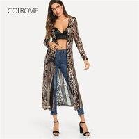 COLROVIE Black Sheer Sequin Open Front Kimono Sexy Cardigan Vintage Ladies Blouse Autumn Night Out Long Sleeve Kimono Blouse