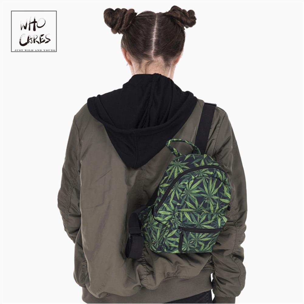 ukrudt 3D trykning mini rygsæk kvinder mochila masculina 2018 Fashion Nye lærred rygsække til teenagere piger skoleposer